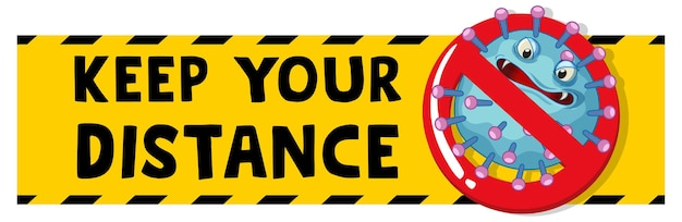 Keep your distance banner Free Vector