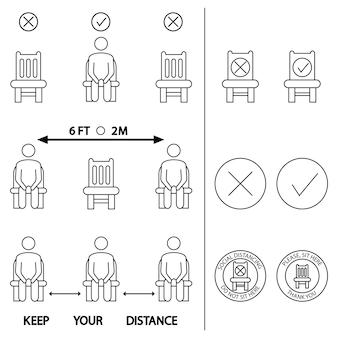 거리를 유지해라. 여기 앉지 마세요. 좌석에 대한 금지된 아이콘입니다. 의자 좌석의 경우 6피트 또는 2미터의 사회적 거리를 유지합니다. 잠금 규칙. 앉을 때 거리를 유지하십시오. 의자에 남자입니다. 벡터