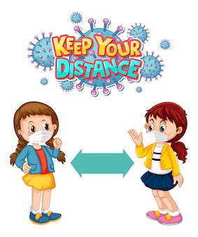 Mantieni il carattere a distanza in stile cartone animato con due bambini che mantengono la distanza sociale isolata su sfondo bianco