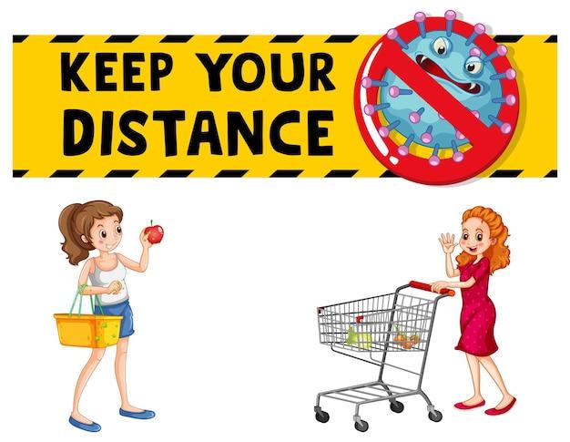 孤立した買い物かごを持っている女性とあなたの距離フォントデザインを維持します