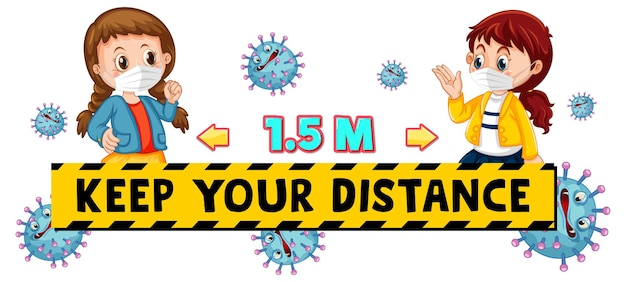 Keep your distance font design with two kids keeping social distance isolated on white background