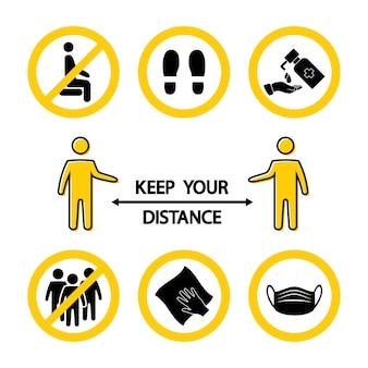 거리를 유지해라. 잠금 규칙. 여기 앉으세요. 여기 서. 손을 씻거나 소독하십시오. 붐비는 것을 피하십시오. 마스크 필수. 습식 청소. 바이러스 예방 아이콘입니다. 의학 기호, 전염병 배너입니다. 벡터