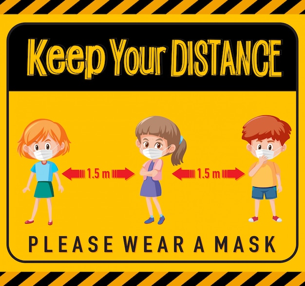 Keep your distance or social distancing sign with children cartoon characters