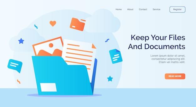 Сохраните свои файлы и документы, значок папки с файлами, кампанию для шаблона веб-сайта, целевой страницы в мультяшном стиле