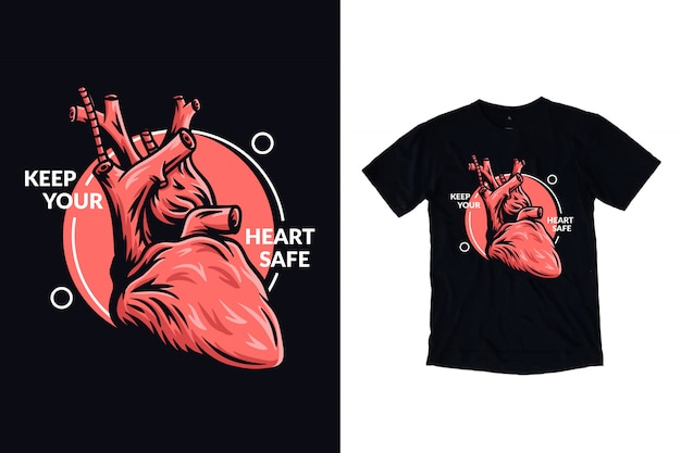 Keep your heart safe illustration for t shirt