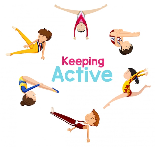 Keeping active logo with gymnastics athlete