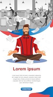 Keeping calm in stressful work flat vector website