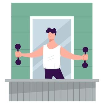 自宅で健康を維持し、筋肉をトレーニングし、ダンベルを持った男性キャラクターが体重を減らします。バルコニーにスポーツ用品、コロナウイルス検疫の練習と強さを持つ男。フラットスタイルのベクトル