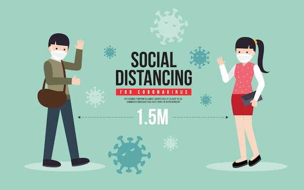 Keeping social distance during the outbreak of covid-19. social distancing for coronavirus  illustration.
