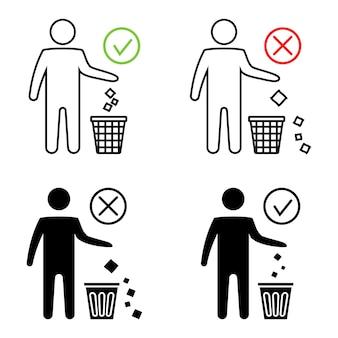 깨끗한 유지 금지 아이콘 쓰레기통에 쓰레기를 버리지 마십시오. 깔끔한 남자 또는 쓰레기를 버리지 마십시오