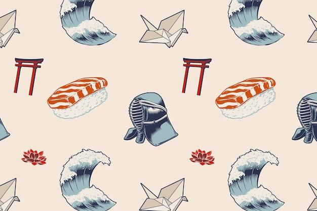 Kendo wave origami torii art samurai