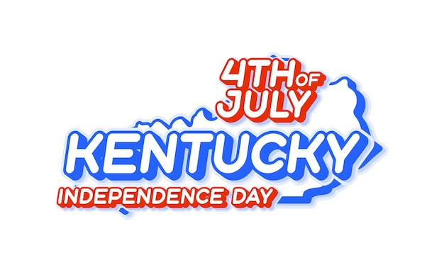 Kentucky state 4th of july independence day with map and usa national color 3d shape of us