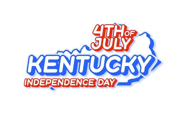Штат кентукки 4 июля в день независимости с картой и национальным цветом сша 3d-формой сша