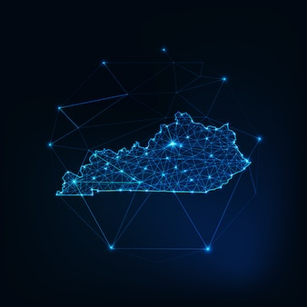 Kentucky state usa map glowing silhouette outline made of stars lines, low polygonal shapes.