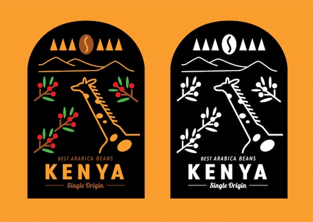 Kenya coffee bean label design