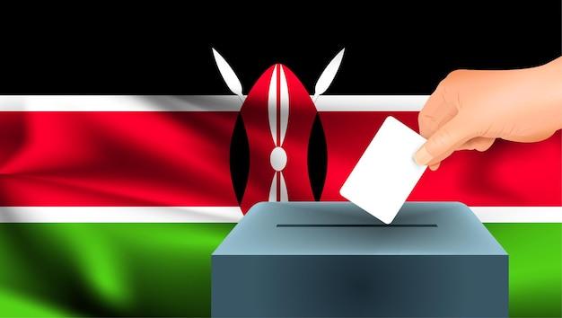 Флаг кении, мужская рука голосование с фоном идеи концепции флага кении Premium векторы