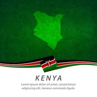 中央地図とケニアの旗