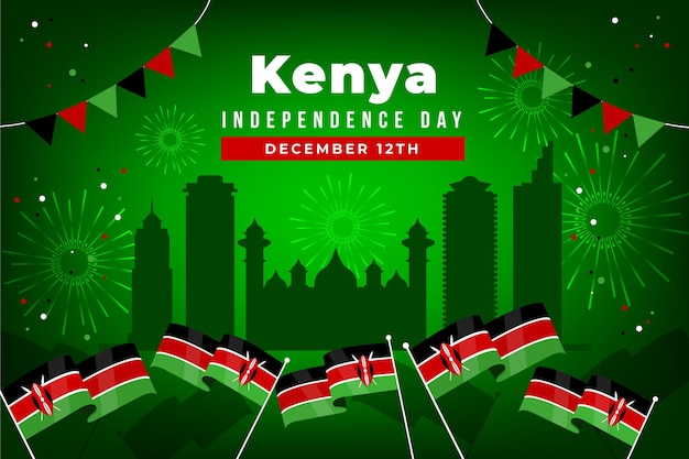 Kenya independence day flat design