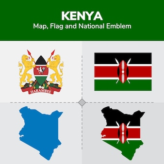 Kenya map, flag and national emblem