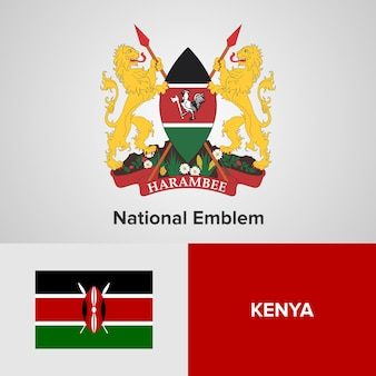 Kenya National Emblem and flag