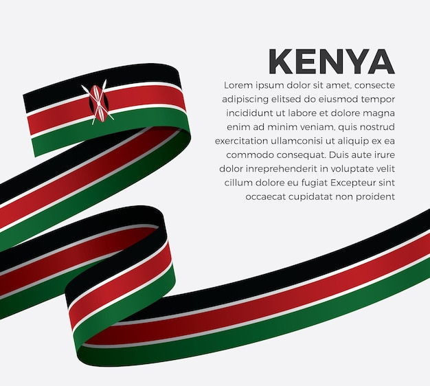 Флаг кении ленты, векторные иллюстрации на белом фоне