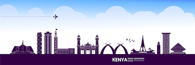 Kenya travel destination grand illustration