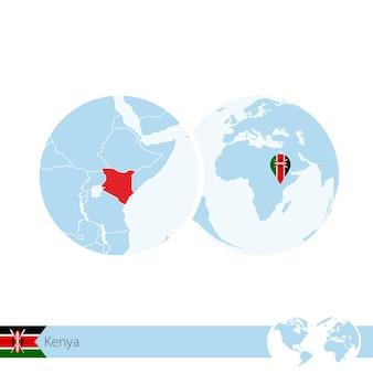 Kenya on world globe with flag and regional map of kenya. vector illustration.