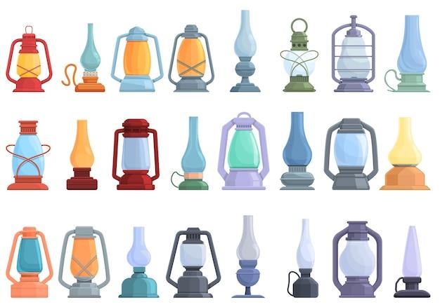 灯油アイコンセット。 webデザインの灯油ベクトルアイコンの漫画セット