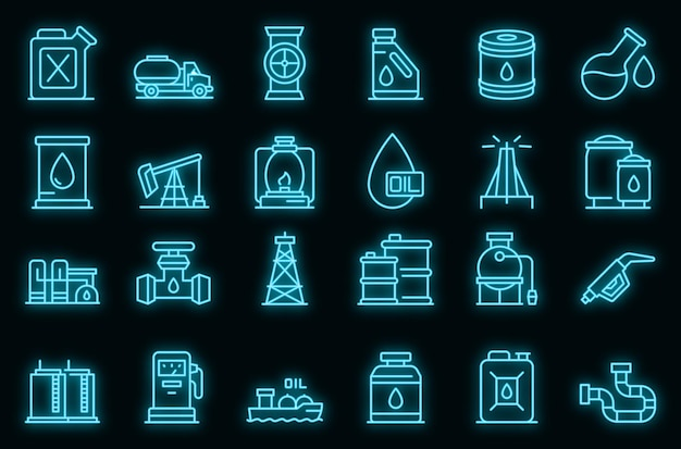 Набор иконок керосина. наброски набор керосин векторных иконок неонового цвета на черном