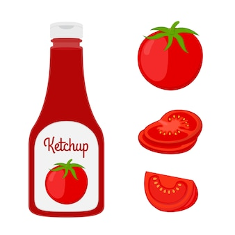Ketchup bottle with sliced, fresh tomato.