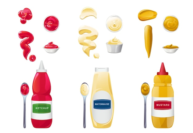Ketchup mayonnaise mustard sauces in bottles bowles and spoons set with its splashes realistic