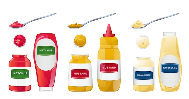 Ketchup mayonnaise mustard sauces in bottles jars and spoons set realistic vector illustration