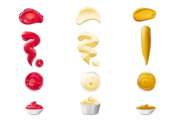 Ketchup mayonnaise mustard sauces splashes set realistic illustration isolated on white background