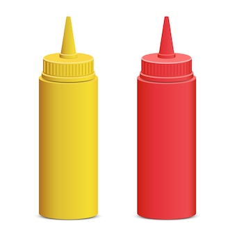 Ketchup and mustard bottle   illustration  on white background