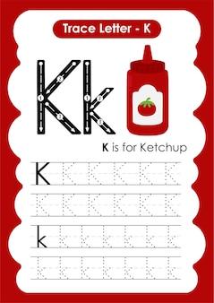 子供のためのケチャップトレースラインの書き込みと描画の練習用ワークシート