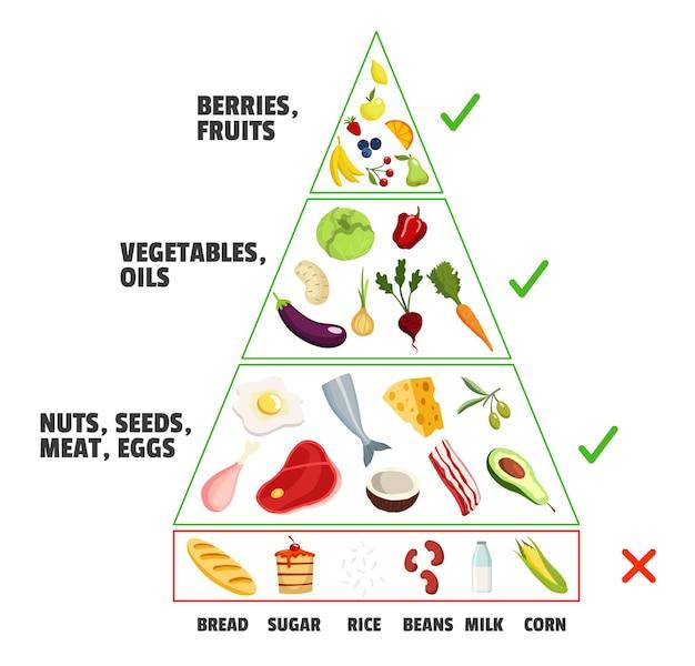 ケトダイエットのコンセプト。ケトジェニックピラミッド。健康的な栄養ケア、ダイエット。さまざまな種類の食品。果物、ベリー、オイル、ナッツ