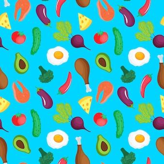 Кето диета рисованной. кетогенный с низким содержанием углеводов и белков, с высоким содержанием жиров. квадратная рамка из овощей, мяса, рыбы и других продуктов.