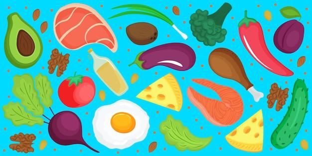 ケトダイエット。ケトジェニック低炭水化物およびタンパク質、高脂肪。新鮮な野菜、魚、チーズ、卵の横のバナー。