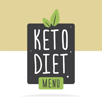 Keto diet menu label or poster. vector flat illustration. concept healthy eating.