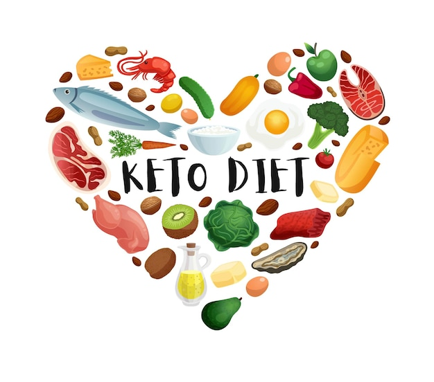 Keto diet realistic concept in shape of heart with high protein and fat products vegetables for healthy nutrition illustration