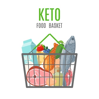 흰색 배경에 고립 된 평면 스타일에 케토 음식 바구니. 케토 제닉 다이어트 성분.