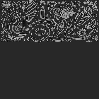 복사 공간이 있는 케토 식품 손으로 그린 배너. 케톤 생성 저탄수화물 및 단백질, 고지방. 팔레오 다이어트. 낙서 스타일의 건강한 식생활. 칠판에 분필. 라인 아트.
