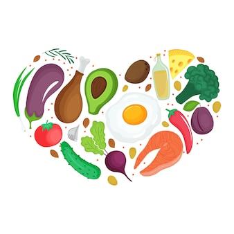 케토 식품: 야채, 견과류, 고기, 생선. 심장 모양의 배너입니다. 케톤 생성 영양.