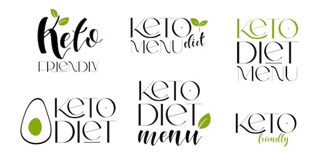 케토 친화적인 다이어트 벡터 디자인 요소입니다. 배지 세트입니다.