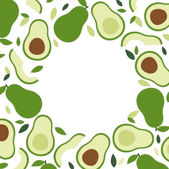Keto and vegan diet, avocado frame background, trendy plant, vector in flat style.
