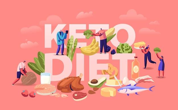 Ketogenic diet concept. cartoon flat illustration
