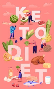 Ketogenic diet concept. male and female characters with balanced low-carb food vegetables, fish, meat, cheese and nuts. cartoon flat illustration