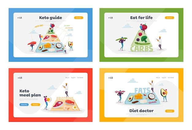 ケトジェニックダイエット、健康的な食事のランディングページテンプレートセット。キャラクターは、良い脂肪源、バランスの取れた低炭水化物食品野菜、魚、肉、チーズのピラミッドを設定します。漫画の人々
