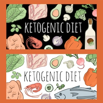 Ketogenic diet healthy food low carb text
