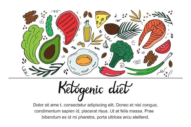 손으로 그린 낙서 스타일의 케토제닉 다이어트 가로 배너. 저탄수화물 다이어트. 팔레오 영양. 케토 식사 단백질 및 지방